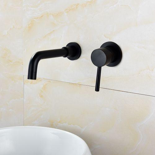 Brass Black Basin Faucet Single Handle Wall Mounted Bathroom Mixer Basin Taps Washroom Sink Faucet For Bathroom Vanity, Bowl Sink, BB6083A