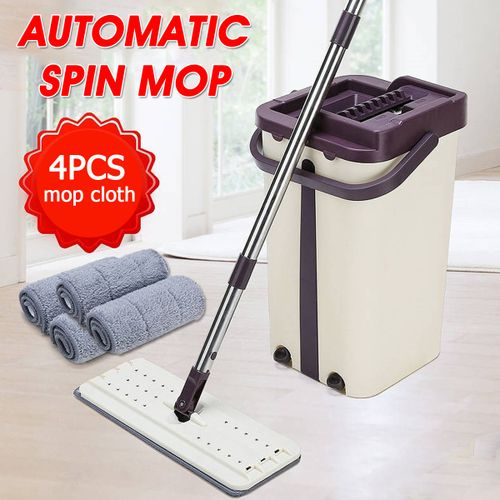360? Automatic Spin Wash Dust Fast Dry Flat Mop Floor Home Cleaning + 4X Cloth