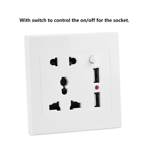 Double Sockets Wall Socket Switch Control Electric Wall Power Outlet Socket Charger With 2 USB Port 110-250V Wall Plug