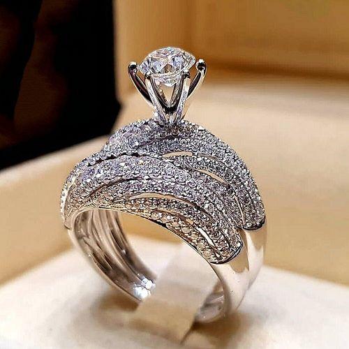 Diamond Engagement Ring/Wedding Band Set For Women
