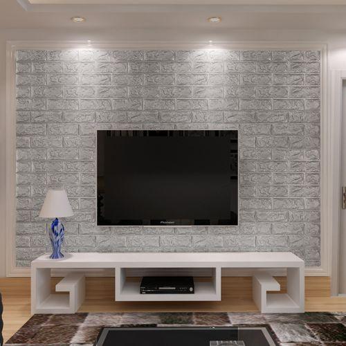 3D Brick Pattern Wallpaper Bedroom Living Room Modern Wall Background TV Decor Color Silver Grey