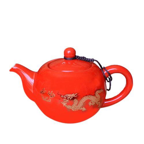 Porcelain Teapot Vintage Dragon Ceramic Teapots Red