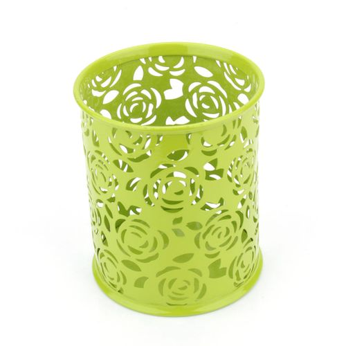 Hollow Rose Flower Design Cylinder Pen Pencil Pot Holder Containe( Green)