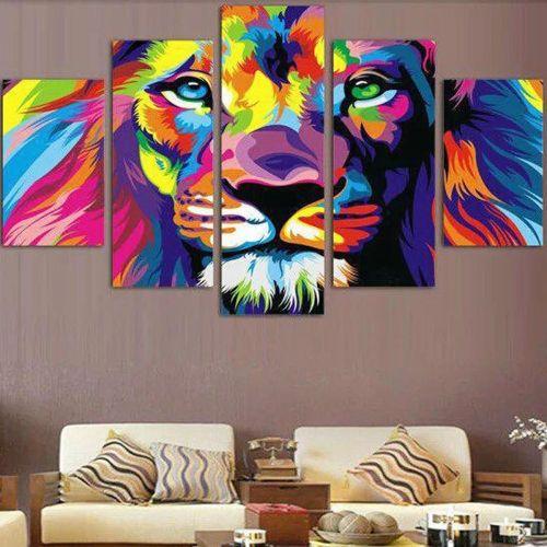 Modern Abstract HD Lion Head Canvas Art Print Painting Home Office Decor Unframe
