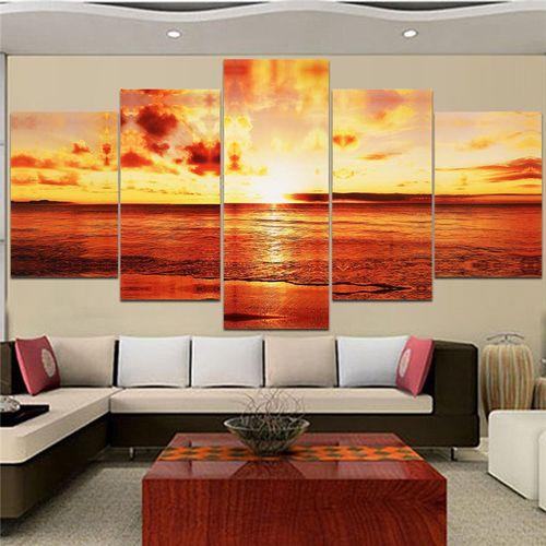 5 PCS/Set Large Seaside Wall Art Print Painting Wall Paper