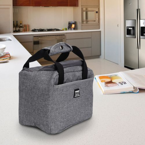 Grey Cationic Oxford Cloth Lunch Bag Portable Food Insulated Travel Picnic Pouch Outdoor