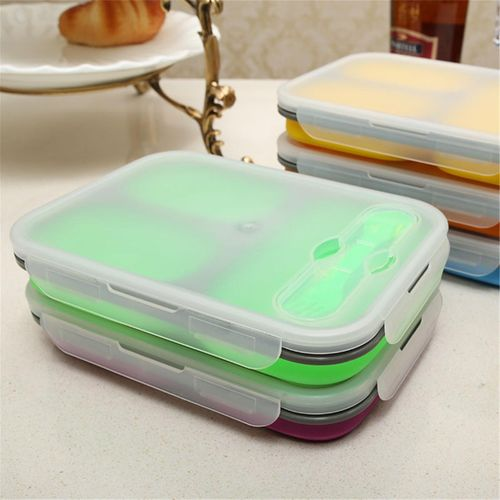 New Foldable Microwave Oven Bento Silicone Lunch Box Bento Picnic Food Container#Green
