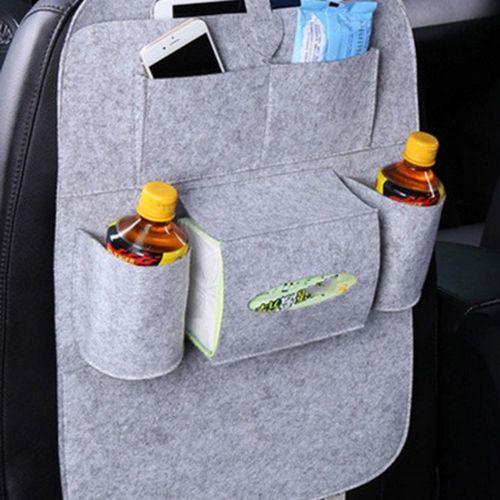 Car Backseat Organizer Styling Mini Storage Bag Multi-pocket Light Grey