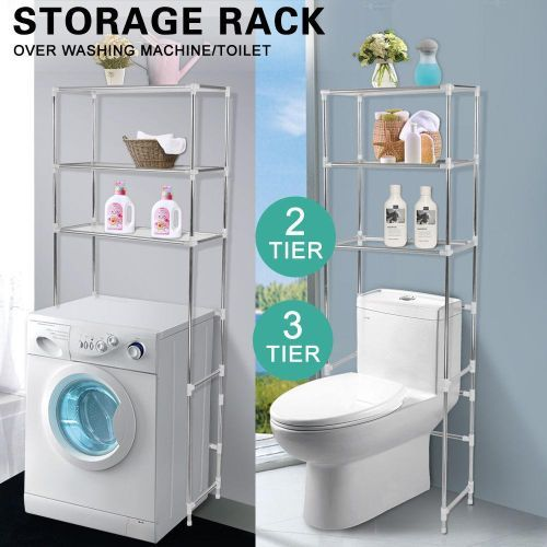 2 Tier Over Toilet/Laundry Washing Machine Bathroom Storage Rack Shelf Organizer White