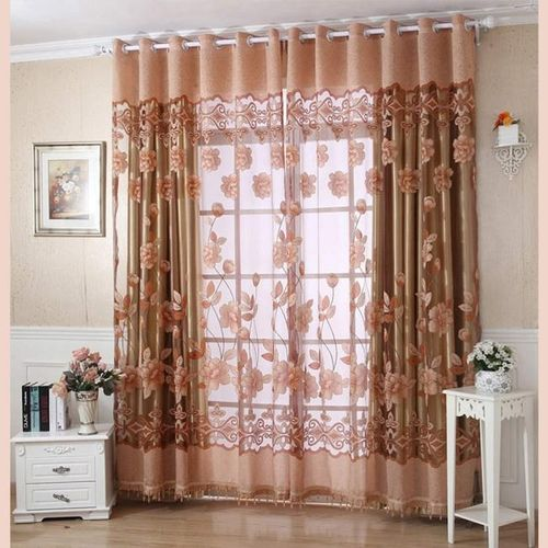 Elegant Home Decoration 250cmx100cm Print Floral Voile Door Curtain Window Room Curtain Divider Scarf - Coffee