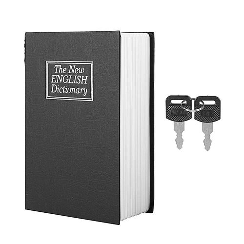 Black English Dictionary Safe Box Money Jewelry Collection Storage Case With 2Keys