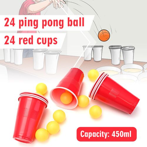 48pcs Beer Pong Set Luck Drinking Skill Game Cups Balls Party Pub Ping Pong Fun