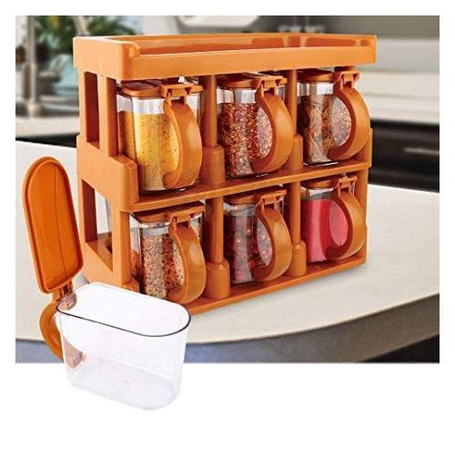 3 Tier Spice Rack With 6pcs Curvy Handle Jars