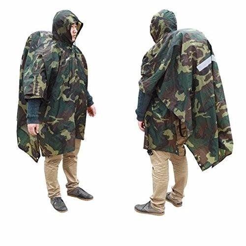 Hiking Raincoat Backpack Cover Ground Mat Reflective Poncho