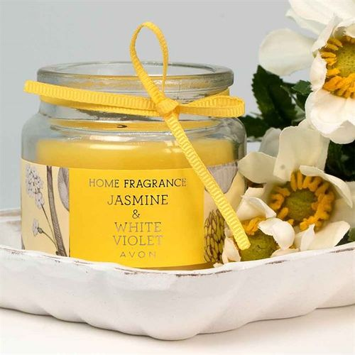 Jasmine And White Violet Glass Candle