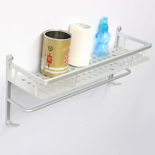 6PCS 40cm Single Layer Alumimum Towel Bar Rack Holder Hanger Bathroom Storage Shelf Wall Mounted