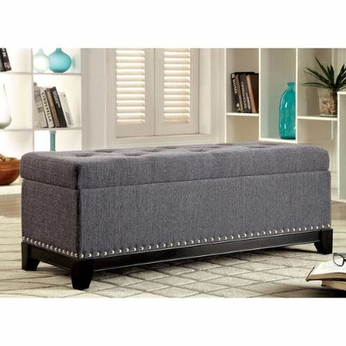 Handys - Rachelson Romantic Tufted Linen Storage Ottoman - Grey (Delivery Within Lagos Only)