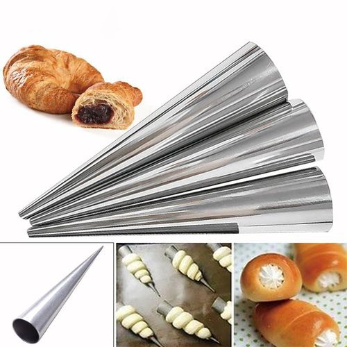 5Pcs/set Stainless Steel Spiral Croissants Molds Conical Tube Cone Roll Cream Baking Pastry Tool