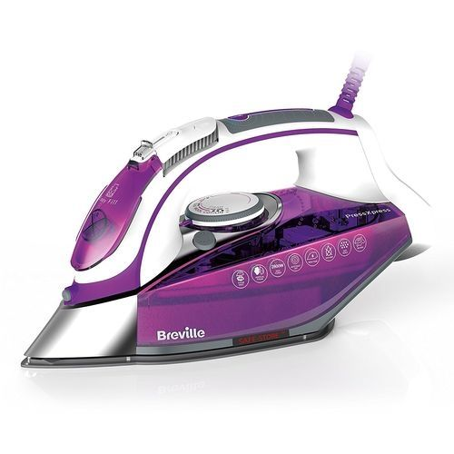 PressXpress Powerful Continous Steam Iron - 2800W - Ready-Temperature Illumination, Anti-Drip, Self-Clean System, Extra-Long 3M Cord - Ceramic Soleplate