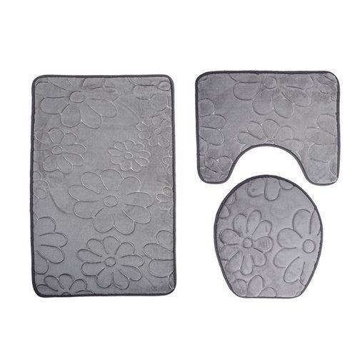 3pc Bathroom Set Rug Contour Mat Toilet Lid Cover Colored Bathmat