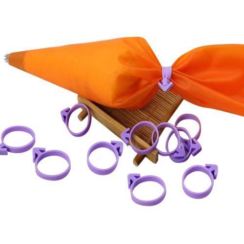12pcs Piping Bag Fixed Ring Nozzle Seal Cream Coupler Cake Decorating Tools-Purple