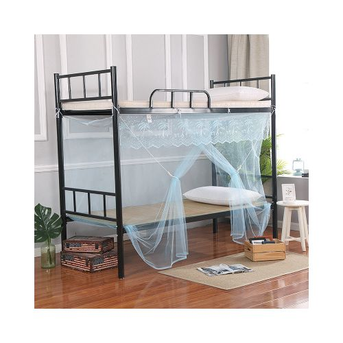 Blue Single Bed Student Mosquito Net With Dustproof Roof