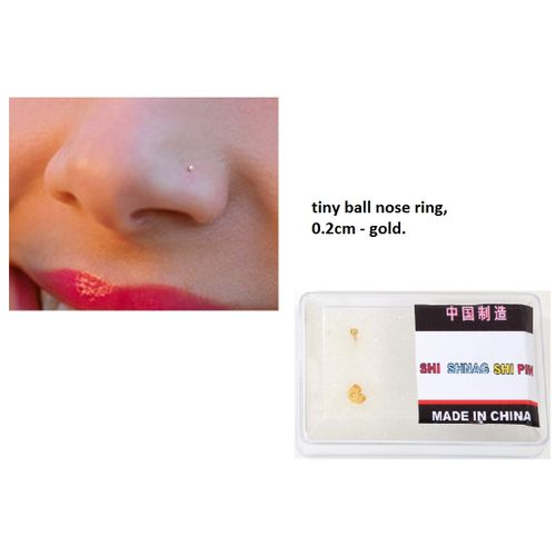 Fashion Nose Ring Ball Shape Tiny 0 2cm Piercing Coated Gold