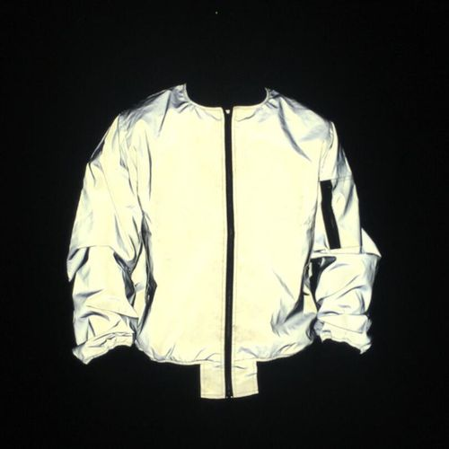 Men Full Reflective Jacket Night Reflect Light Hip Hop Er Jacket Women Zipper Flight Jackets And Coats Casual Windbreaker(#Gray) CUI
