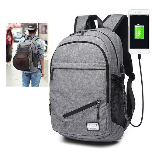 DX Canvas Smart Bag For Basketball/ Football Mesh + Headset Jack + USB Charging Port, Security Travel Backpack & Laptop Bag Water Repellant- Grey