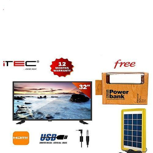 """32"""" LED TELEVISION WITH FREE WALL BRACKET WITH SOLAR PANEL"""