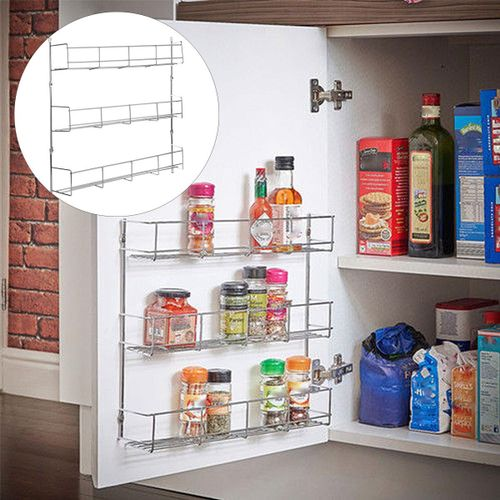 10PCS Kitchen Spice Rack Cabinet Organizer Wall Mount Storage Shelf Pantry Holder