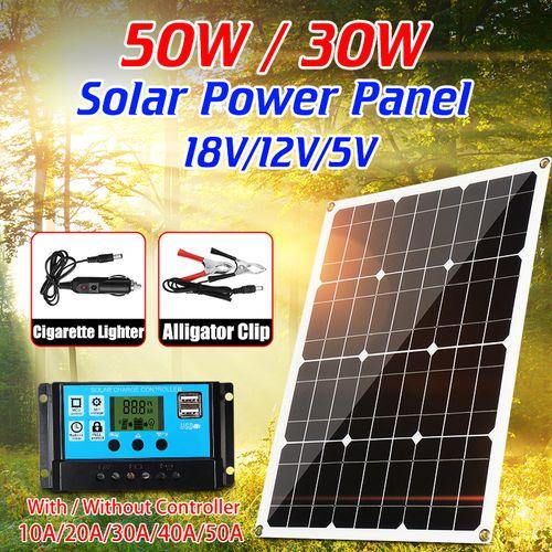 25W/30W/50W Solar Panel 12V/18V/5V Dual USB Battery Charger +50A Controller Kits
