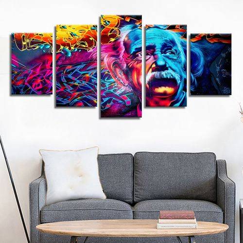 MT 11372 Colorful Einstein Frameles Oil Painting Canvas Painting Decoration-multicolor-S