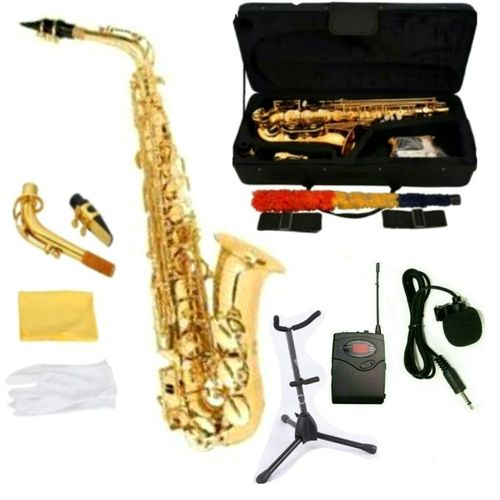 MODERN ALTO SAXOPHONE WITH ACCESSORIES, SAX STAND & WIRELESS MIC