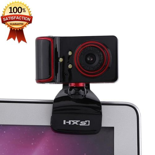 16M Pixel HD Clip-on 3 LED Rotatable Webcam For PC Computer Black + Red