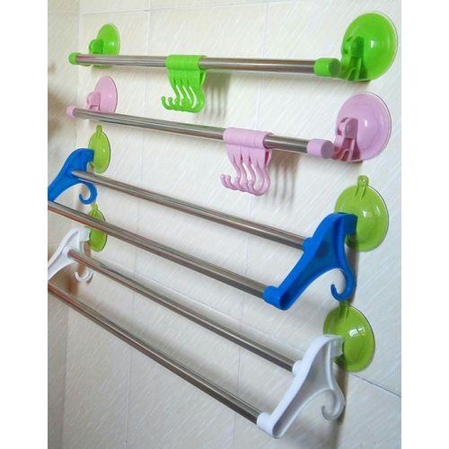 Towel Hanger Bathroom Rack Suck Towel Bar Rail Roller 4pcs