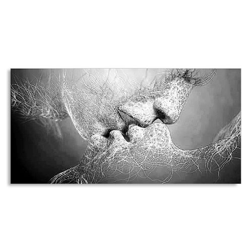 Fashion New Black & White Love Kiss Abstract Art On Canvas Painting Wall Art Picture Print Home Decor(Without Frame)-100cm*60cm