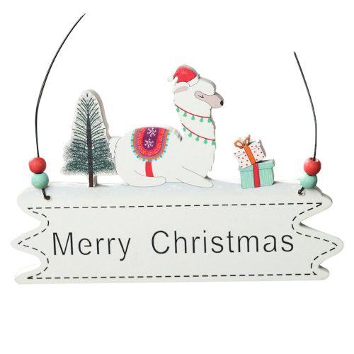 Alpaca Letter Card Wooden Christmas Pendant Creative Ornament Tree Colorful