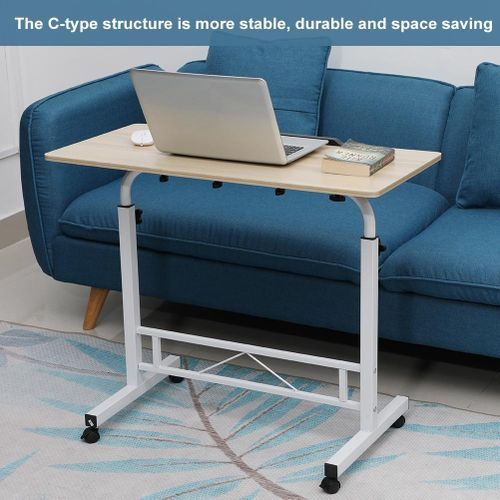 Height Adjustable Laptop Table Computer Desk Stand Bed With Wheels 80*40CM
