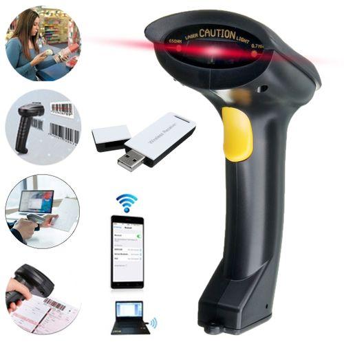 LEORY Portable Wireless Barcode Scanner Handheld USB Laser Scan 2.4Ghz Bar Code Reader
