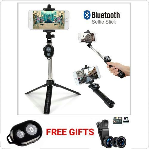 Selfie Stick With Tripod Stand And You Also Get A FREE Bluetooth Shutter And A FREE 3 In 1 Phone Camera Lens