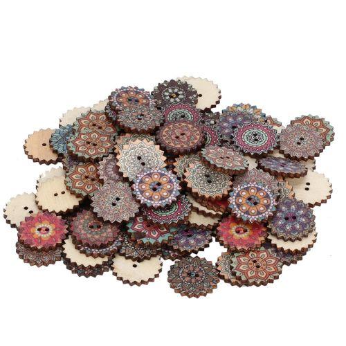 100Pcs Wooden Button Retro DIY Cartoon Sun Flower Pattern Decoration Craft 20mm