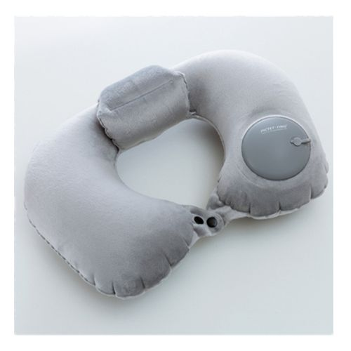 Hand Pressure Inflatable Crystal Velvet Neck Pillow-Grey