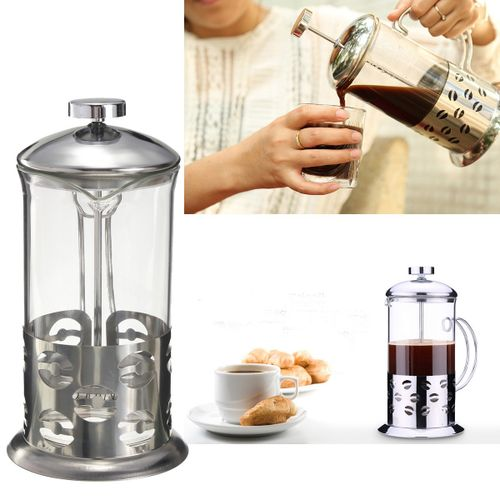 Stainless Steel Glass Cafetiere French Filter Coffee Tea Press Plunger -800ml