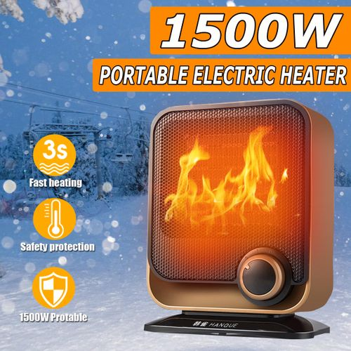 Portable Electric Mini Fan Space Heater Thermostat Winter Home Office 1500W 220V