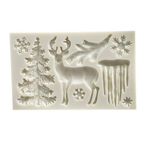 Rectangular Gray White Silicone Christmas Tree Elk Snowflake Icicle Fondant Mold
