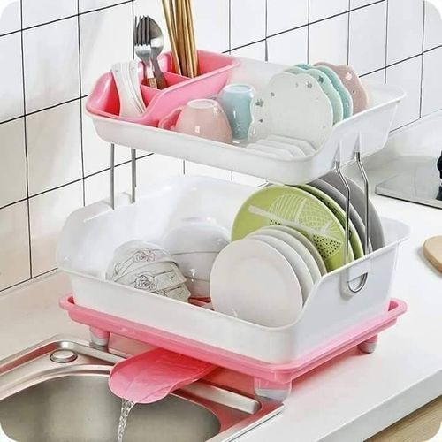 Dish Rack With Drainer Channel (PINK)