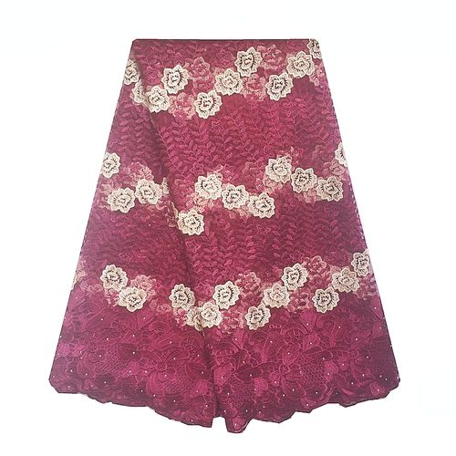 Embroidery African Nigerian Tulle Lace For Party Dress-Wine