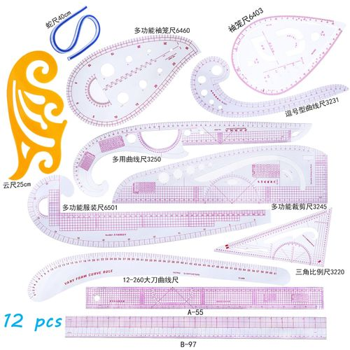 Sewing French Curve Ruler Measure Sewing Dressmaking Tailor Ruler Set 12pcs