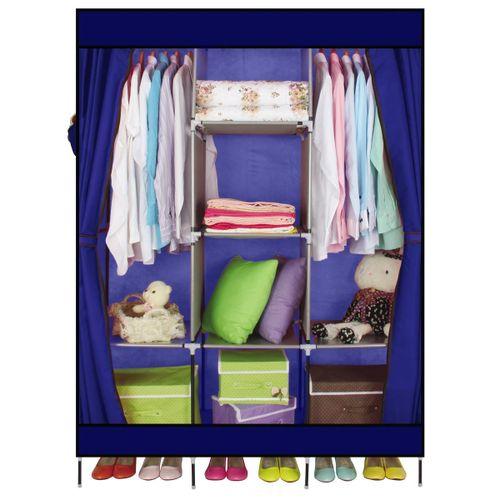 Large Portable Clothes Closet Canvas Wardrobe Storage Organizer With Shelves US